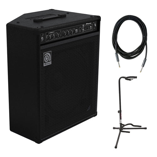 "Ampeg BA-115V2 150W 1x15 Combo Bass Amplifier with Instrument Cable 1/4"" Male to male and XCG-4 Classic Guitar Stand"
