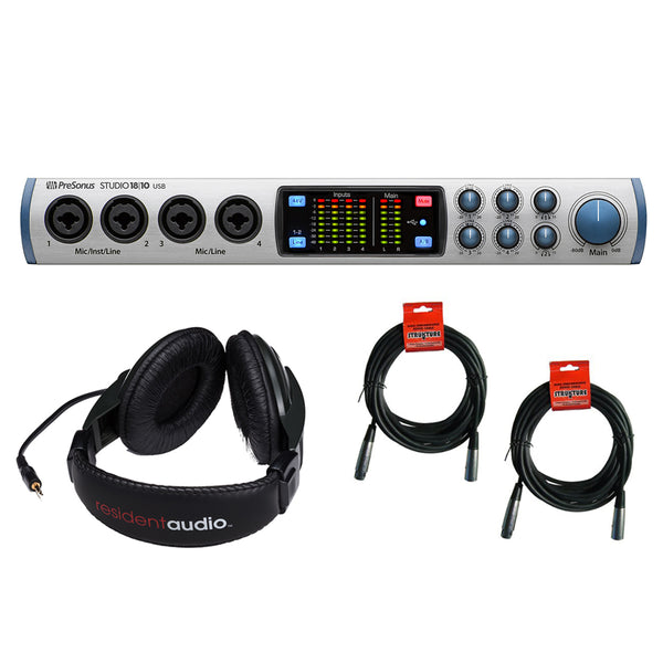 PreSonus Studio 1810-18x8 USB 2.0 Audio Interface with R100 Stereo Headphones & (2) 20' XLR Cable Bundle