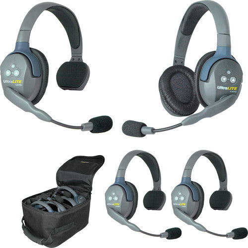 Eartec UltraLITE 431 4-Person Headset System (3 Single-Sided Headsets, 1 Dual-Eared Headset)