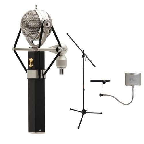 Blue Dragonfly Large-Diaphragm Cardioid Studio Condenser Microphone with Blue Universal Wire Mesh Windscreen & Tripod Microphone Stand w/ Fixed Boom Kit