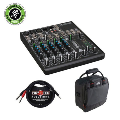 "Mackie 802VLZ4 8-Channel Ultra-Compact Mixer with G-MIXERBAG-1212 Padded Nylon Mixer/Equipment Bag & TRS to Dual 1/4"" TS Pro Stereo Breakout Cable (10') Kit"