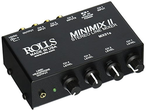 Rolls MX51s Mini-Mix 2 Four-Channel RCA Mixer