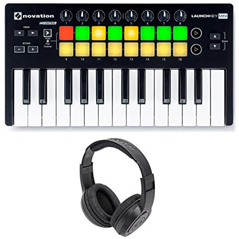Novation Launchkey Mini MK2 25-Key USB MIDI Controller with Stereo Headphones