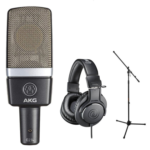 AKG C214 Pro Condenser Microphone Bundle with Audio-Technica ATH-M20x Headphones & Mic Stand