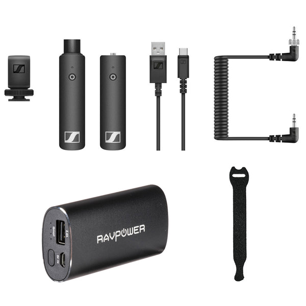 Sennheiser XSW-D Portable Interview Set with RAVPower Luster 6700mAh Charger & Fastener Straps 10-Pack Bundle