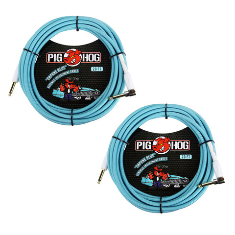 Pig Hog Vintage-Series Woven Instrument Cable (Daphne Blue, 20', Right Angle), 2-Pieces Bundle