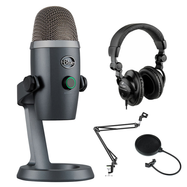 Blue Yeti Nano USB Condenser Microphone (Shadow Gray) with Polsen HPC-A30 Monitor Headphones, Mic Suspension Boom & Pop Filter Bundle