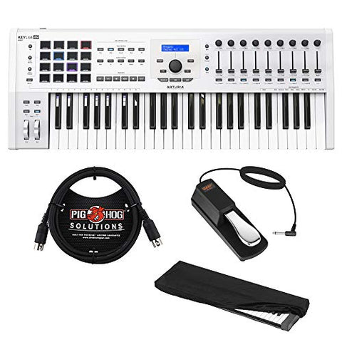 Arturia KeyLab MKII 49 Professional MIDI Controller and Software (White) with 6ft MIDI Cable, Sustain Pedal & Keyboard Dust Cover (Small) Bundle