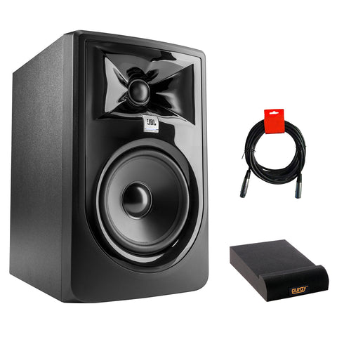"JBL 305P MkII Powered 5"" Two-Way Studio Monitor Bundle with Small Isolation Pad & XLR Cable"