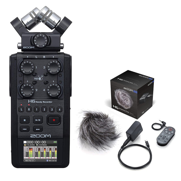 Zoom H6 All Black 6-Track / 6-Input Portable Recorder with Single Mic Capsule & Zoom Accessory Pack Bundle