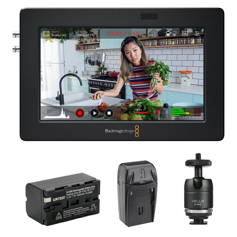 "Blackmagic Design Video Assist 3G-SDI/HDMI 5"" Recorder/Monitor with Li-Ion Battery Pack, AC/DC Charger & Ball Head Bundle"