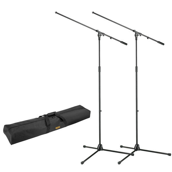"K&M 21021 Tripod Microphone Stand with Boom, 2-Pack and Stand Bag 51"" Interior Bundle"