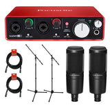 Focusrite Scarlett 2i2 USB Audio Interface (2nd Generation) with (2) AT2020 Cardioid Condenser Microphone, (2) MS-5230F Tripod Microphone Stand and (2) XLR Cable