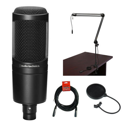 Audio-Technica AT2020 Cardioid Condenser Microphone with Microphone Boom Arm, Pop Filter and XLR Cable