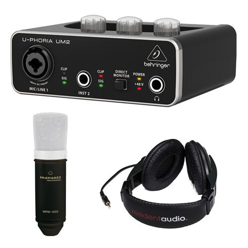 Behringer U-PHORIA UM2 2x2 USB Audio Interface with Large-Diaphragm Condenser Microphone and Stereo Headphones (Black)