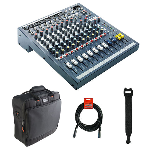 Soundcraft EPM 8 - 8 Mono + 2 Stereo Audio Console with Gator Cases 1515 Mixer Bag, Fastener Straps (10-Pack) & XLR Cable Bundle