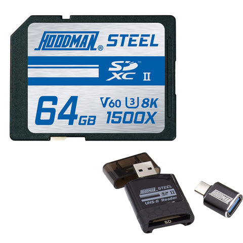 Hoodman 64GB Steel UHS-II SDXC Memory Card Bundle with SD/microSD UHS-II Card Reader