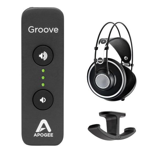 Apogee Electronics Groove USB DAC and Headphone Amplifier with AKG K 702 Circumaural Headphones & Headphone Hanger Mount Bundle