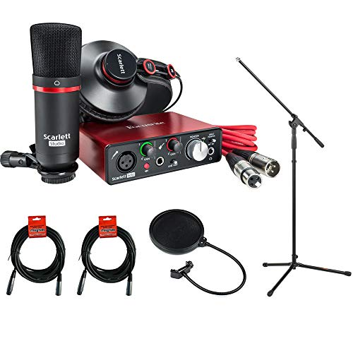 Focusrite Scarlett Solo Studio Pack (2nd Generation) plus Mic Stand with Fixed Boom, Pop Filter & (2) 20' XLR-XLR Cable Kit