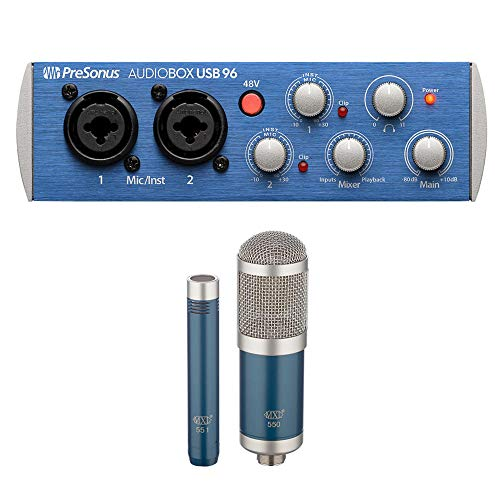 PreSonus AudioBox 96 USB 2.0 Audio Recording Interface with MXL 550/551 Microphone Ensemble Kit (Blue) Bundle