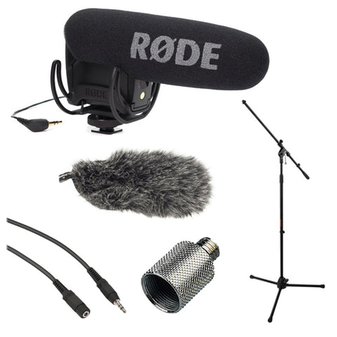 Rode VideoMic Pro with Rycote Lyre Shockmount, Fur Wind, Mic Stand Shield Bundle
