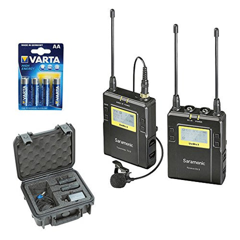 Saramonic UWMIC9 RX9 + TX9, 96-Channel Digital UHF Wireless Lavalier Mic System (514 to 596 MHz) with SKB iSeries Waterproof System Case and LR6 Alkaline Battery (4-Pack)