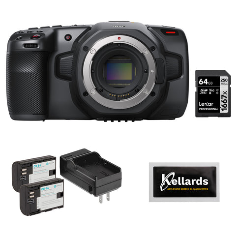 Blackmagic Design Pocket Cinema Camera 6K (Canon EF) with Lexar 64GB Pro Memory Card, LP-E6 Battery Pack & Screen Wipes (5-Pack) Bundle