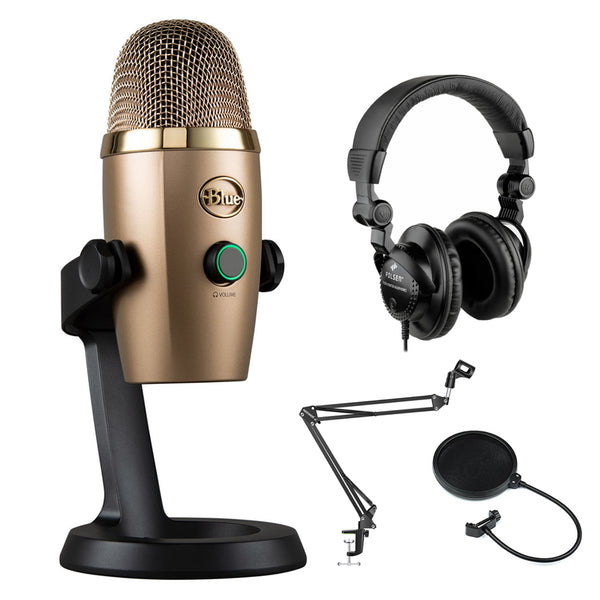 Blue Yeti Nano USB Condenser Microphone (Cubano Gold) with Polsen HPC-A30 Monitor Headphones, Mic Suspension Boom & Pop Filter Bundle