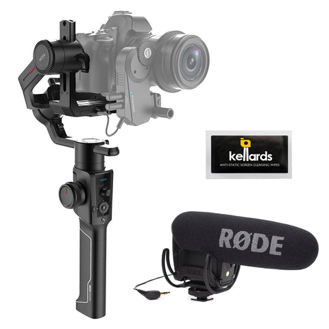 Moza Air 2 3-Axis Handheld Gimbal Stabilizer with Rode VideoMic Pro & 5-Pack Screen Cleaning Wipes Bundle