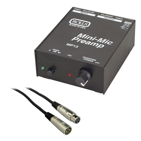 Rolls MP13 Mini Microphone Preamp with SM Series XLR M to XLR F Microphone Cable - 6'