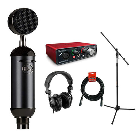 Blue Blackout Spark SL XLR Condenser Microphone with Focusrite Scarlett Solo Audio Interface, HPC-A30 Monitor Headphone, Mic Stand, XLR-XLR Cable Bundle
