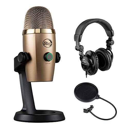 Blue Yeti Nano Multi-Pattern USB Condenser Microphone (Cubano Gold) with Polsen HPC-A3 Studio Monitor Headphones & Pop Filter Bundle