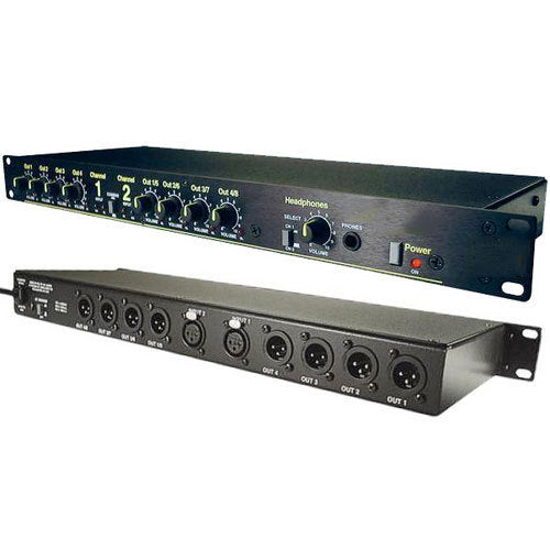 Whirlwind DA-2 - 2-Channel 2-In/4-Out Audio Distribution Amplifier with Headphone Output and Individual Volume Controls