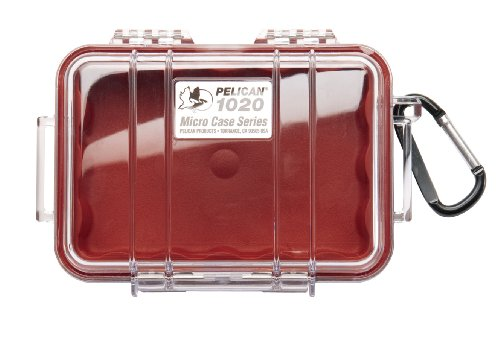 Pelican 1020 Red Micro Case with Clear Lid and Carabiner