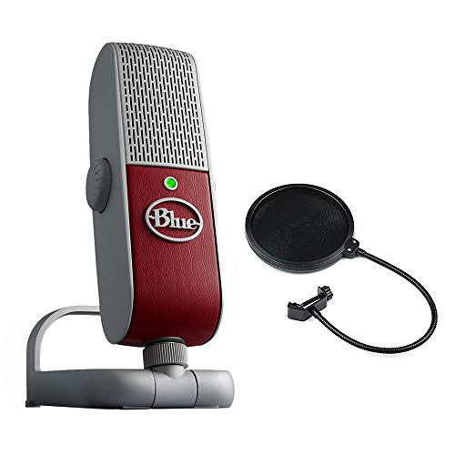 Blue Raspberry Premium Mobile USB Microphone with Pop Filter Bundle