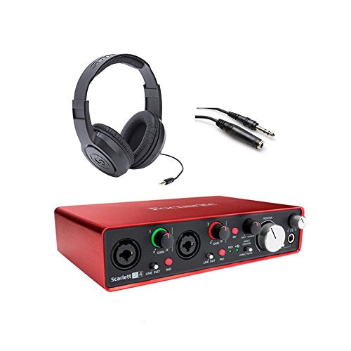 Focusrite Scarlett 2i4 USB Interface w Headphones & Extension Cable Bundle