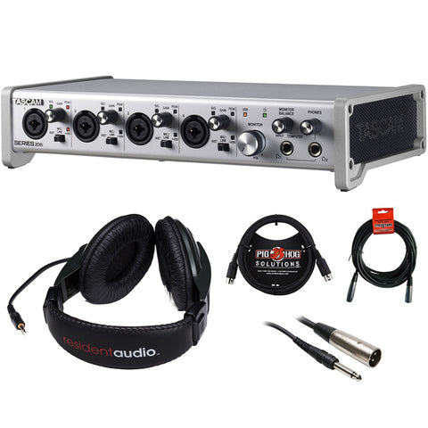 Tascam SERIES 208i USB Audio/MIDI Interface with R100 Stereo Headphones, 6ft MIDI Cable, XLR-XLR & XLR-TRS Cable Bundle