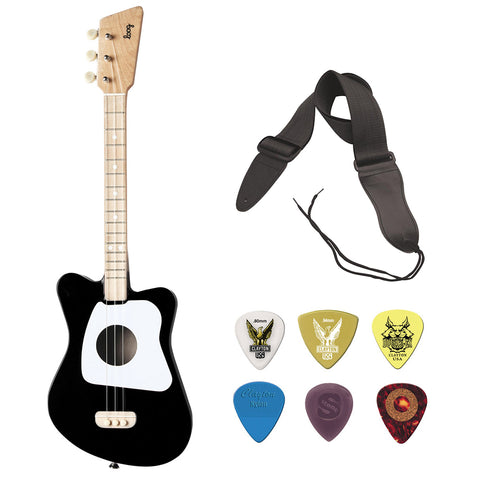 LOOG Mini Guitar for Children (Black) with GSA10BK Guitar Strap (Black) and Guitar Pick Assortment 6-Pack Bundle