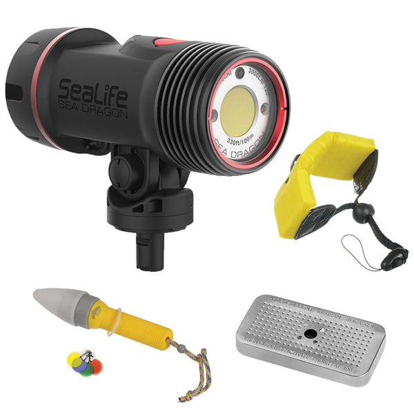 SeaLife SL6780 Sea Dragon 3000F Auto Photo-Video Dive Light Head with Floating Wrist Strap, Nano Spotter & Silica Gel Metal Case Bundle