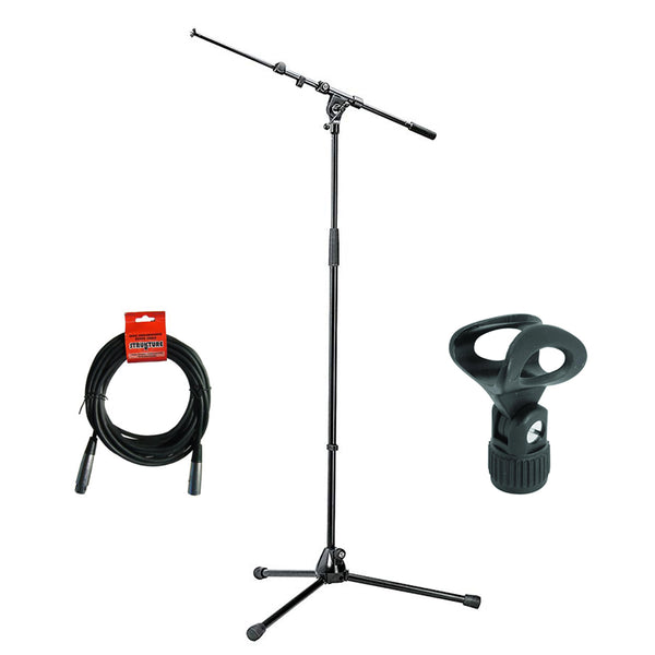 K&M 210/9 Tripod Microphone Stand with Telescoping Boom (Black), Elliptical Microphone Clip & 20' XLR Cable Bundle