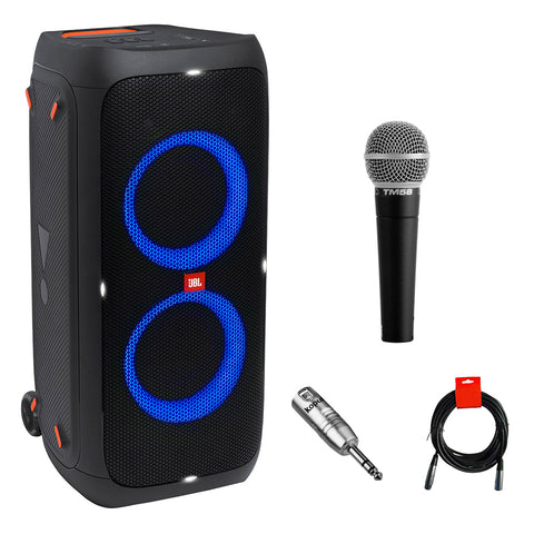 JBL PartyBox 310 Portable Bluetooth Speaker (Party Lights) Bundle with Vocal Microphone, XLR Barrel Adapter & XLR Cable