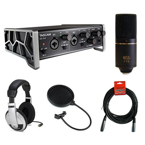 Tascam US-2x2 2-Channel USB Audio Interface Kit w/ Cardioid Condenser Microphone