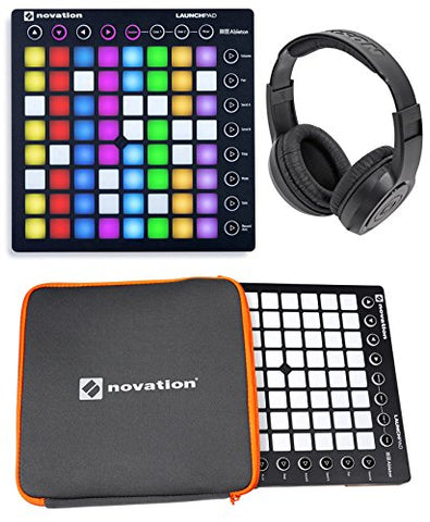 Novation Launchpad Ableton Live Controller MK2 w/ Novation Protective Neoprene Sleeve & Samson Over-Ear Stereo Headphones