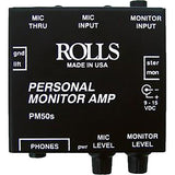 "Rolls PM50s Personal Monitor Amplifier with Hosa 1/4"" Female Phone Headphone Extension Cable -10'"