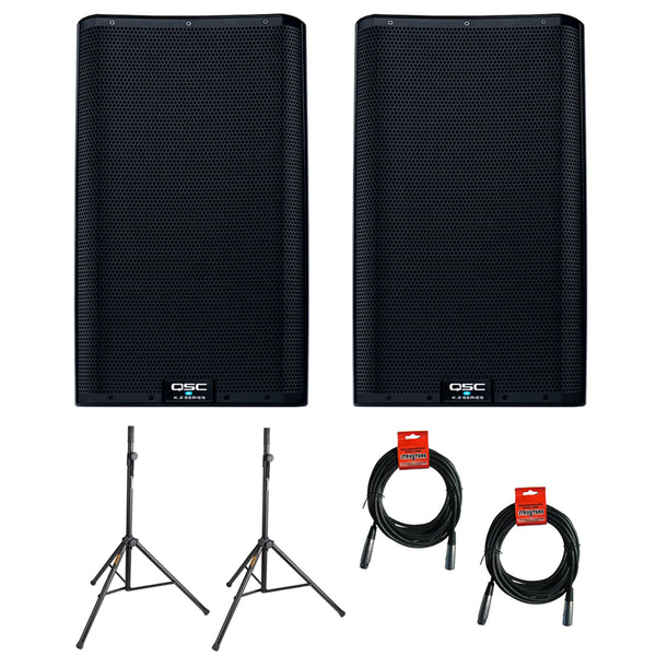 "QSC K12.2 Active 12"" Powered 2000 Watt Loudspeaker - Open Box (Pair) with (2) Steel Speaker Stand & (2) XLR Cable Bundle"