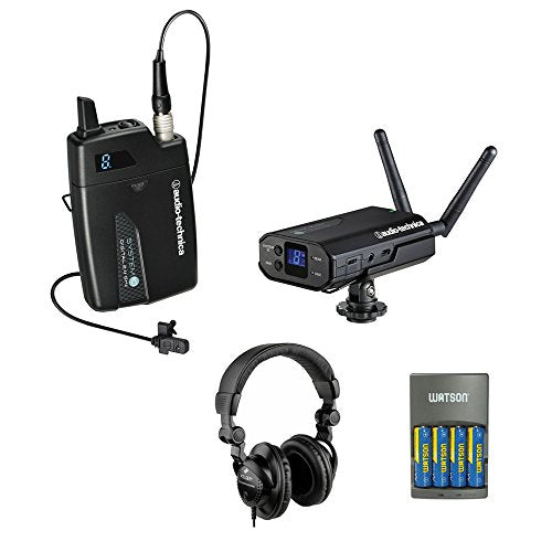 Audio-Technica ATW-1701/L System 10 Camera-Mount Digital Wireless System with Omni Lavalier Mic, GM-1W Mobile Pack & 4-Hour Rapid Charger Kit