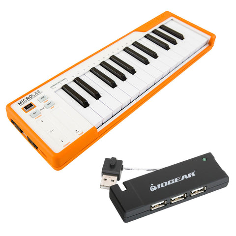 Arturia MicroLab Compact USB-MIDI Controller (Orange) with IOGEAR 4-Port USB 2.0 Hub Bundle