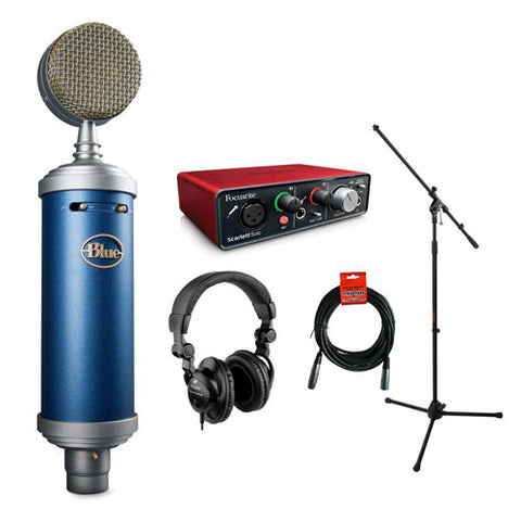 Blue Bluebird SL Large-Diaphragm Condenser Studio Microphone with Focusrite Scarlett Solo Audio Interface, HPC-A30 Monitor Headphone, Mic Stand, XLR-XLR Cable Bundle