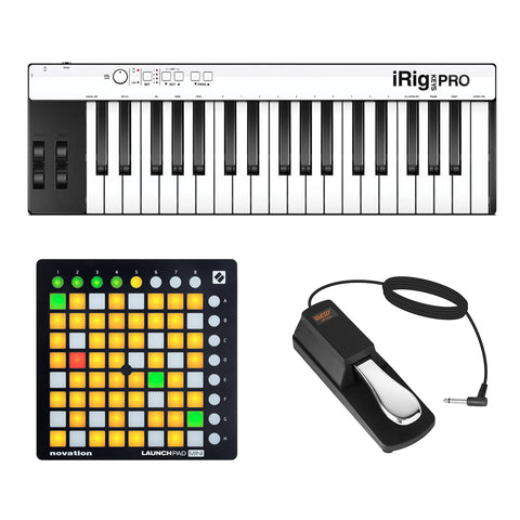 IK Multimedia iRig KEYS PRO 37-Key Controller with Novation Launchpad Mini MK2 Controller & Piano-Style Pedal Bundle