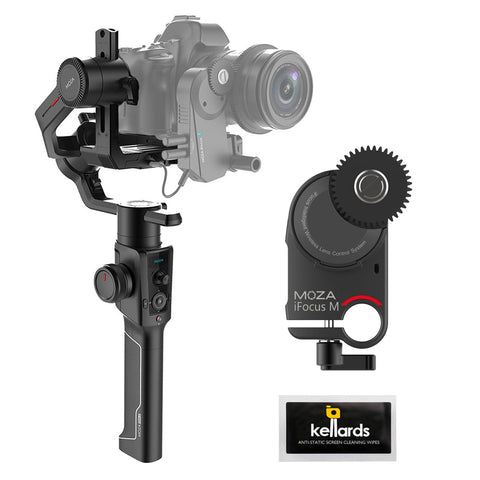 Moza Air 2 3-Axis Handheld Gimbal Stabilizer with Moza iFocus-M Wireless Lens Motor & Screen Cleaning Wipes (5-Pack) Bundle